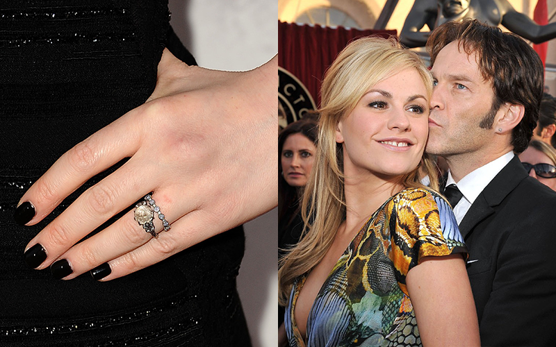 anna received a one of a kind vintage inspired design from her true blood costar stephen moyar the ring features a rustic diamond with delicate - One Of A Kind Wedding Rings