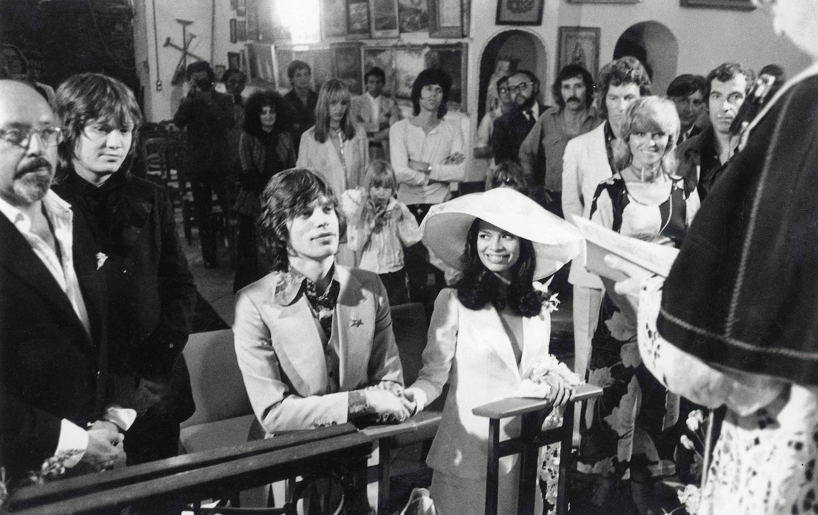 Mick Jagger and Bianca Perez Morena St. Tropez, 1971