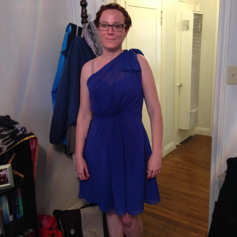 Azazie Sample Dress Monserrat Royal Blue Bridesmaid