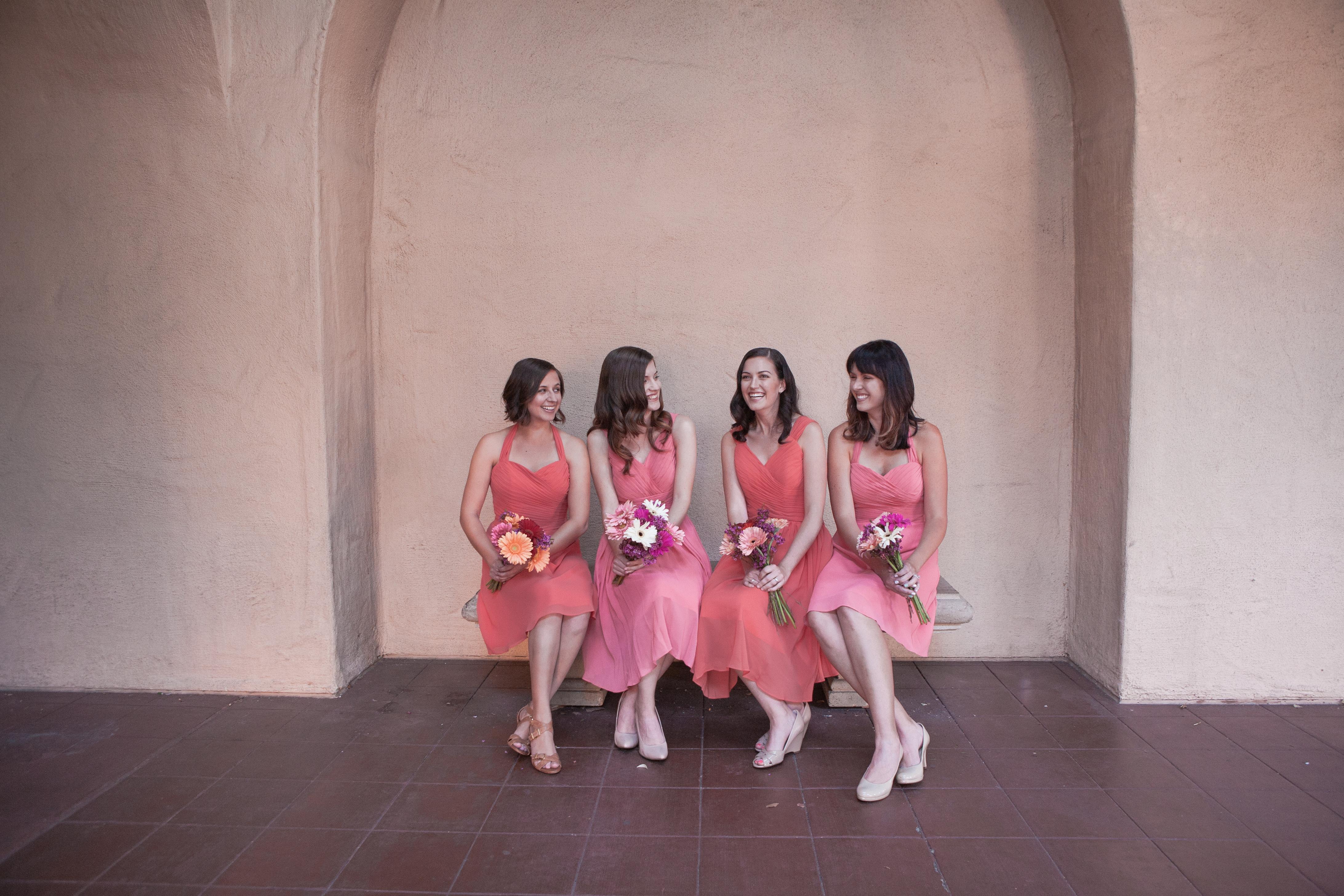 Azazie bridesmaid dresses coral San Diego