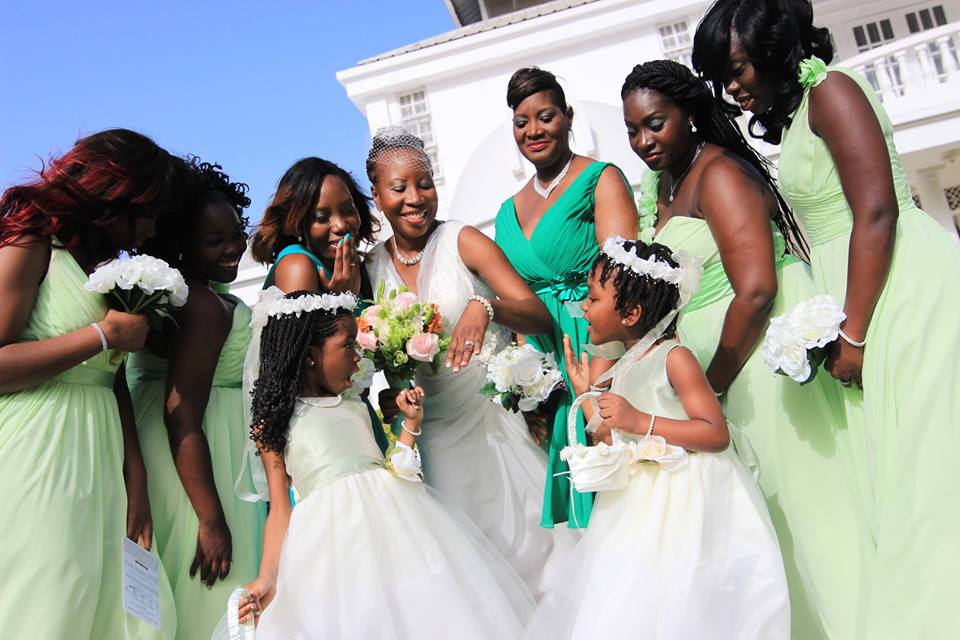 Azazie Green Bridesmaids Destination Wedding Tobago