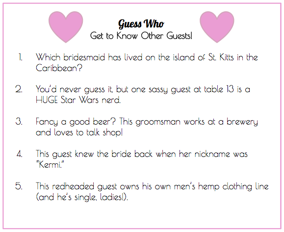 Wedding Guest Trivia Ice Breaker