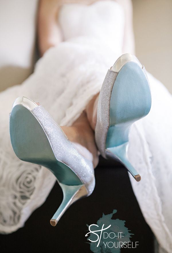 blue soled shoes