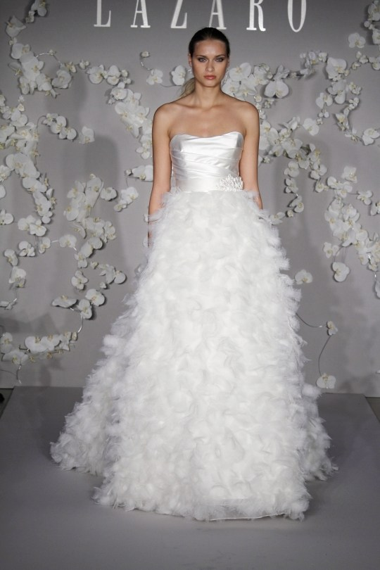 Lazaro-a-line-strapless-wedding-dress-with-feathers