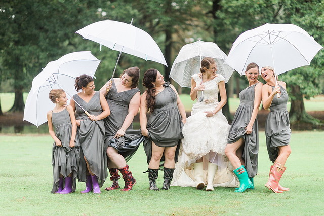 bridesmaids, silver, grey, wedding, rain, outdoor, bridal party