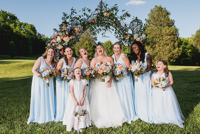 junior bridesmaids, bridesmaids, blue, wedding, dress, outdoors, dresses