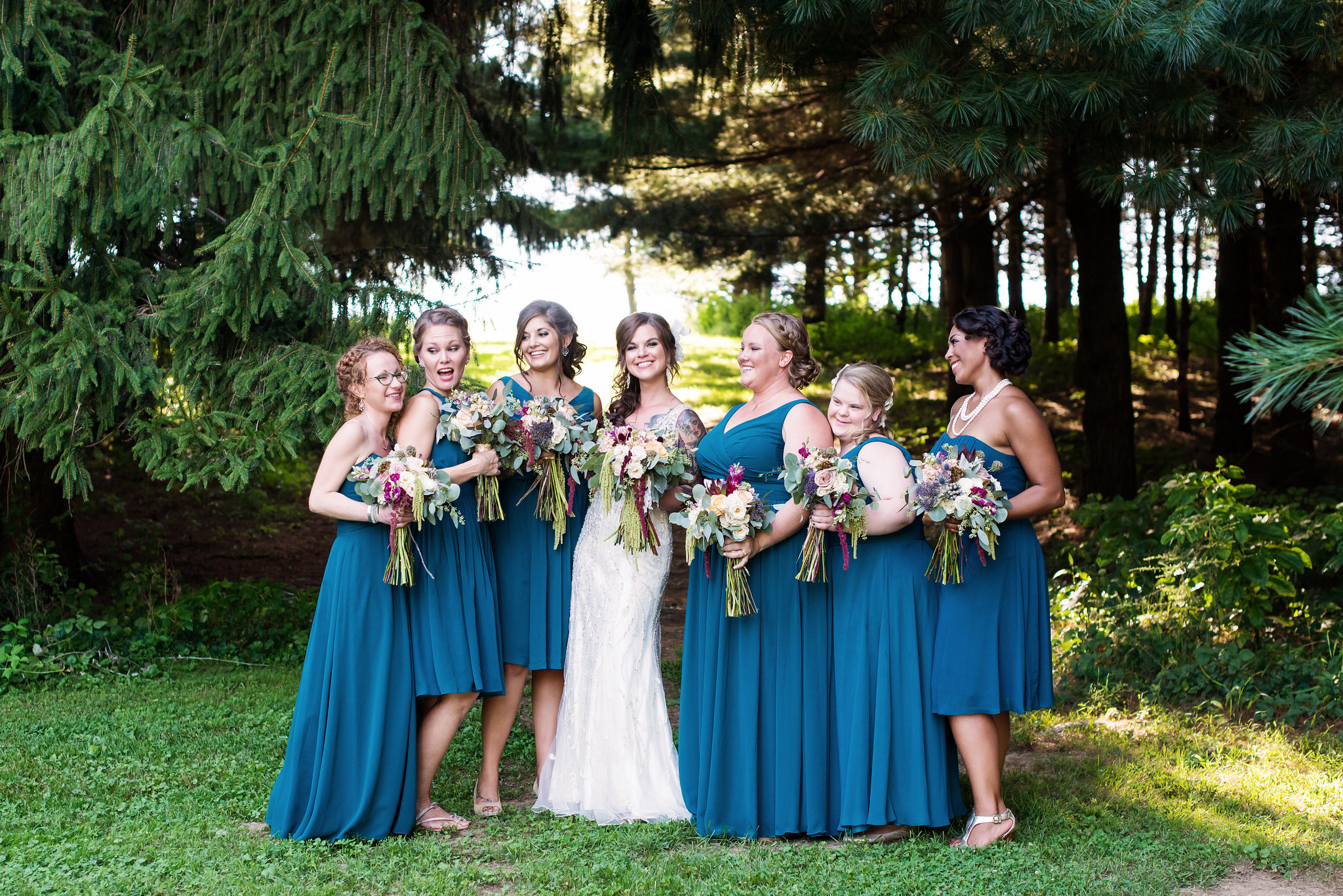 wedding, bridesmaids, dresses, bridal party, mix and match