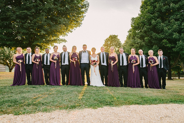 wedding, Virginia, real wedding, grape, purple, wedding party, bridesmaids, groomsmen, dresses, outdoors