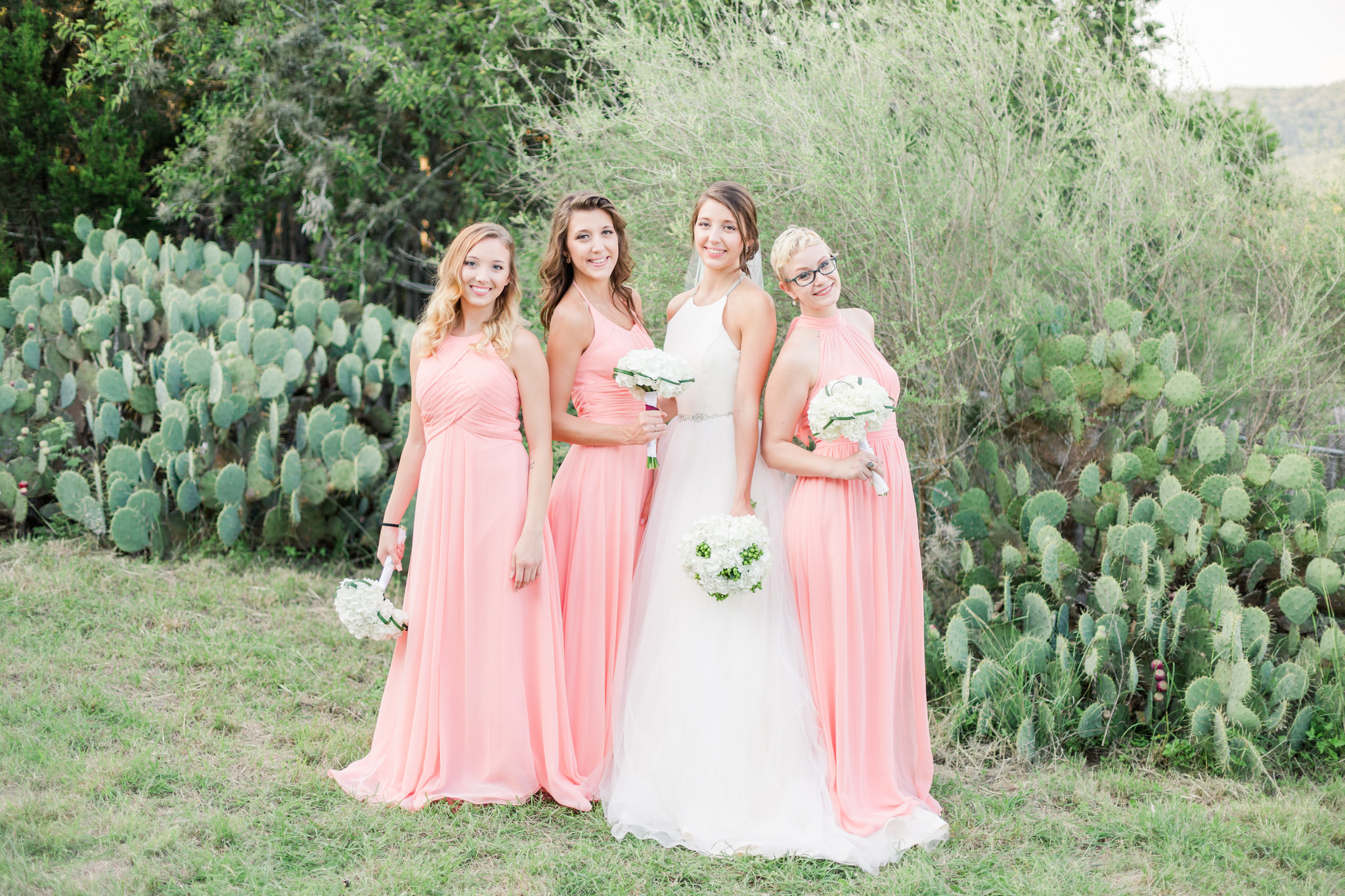 bridesmaids, pink, mix and match, wedding, bridal party