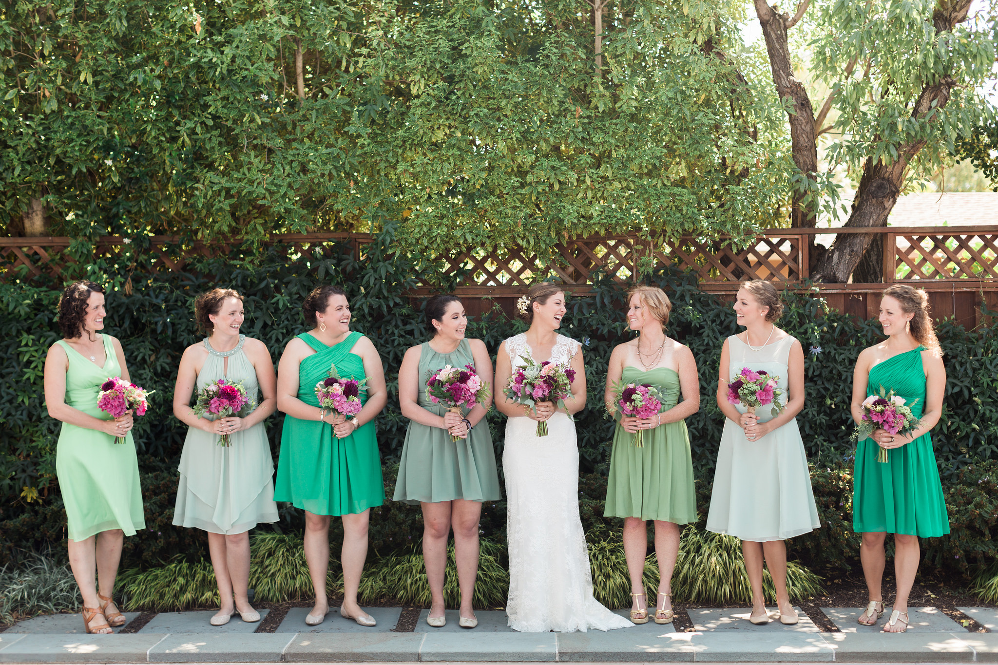 bridesmaids, green, dresses, mix and match