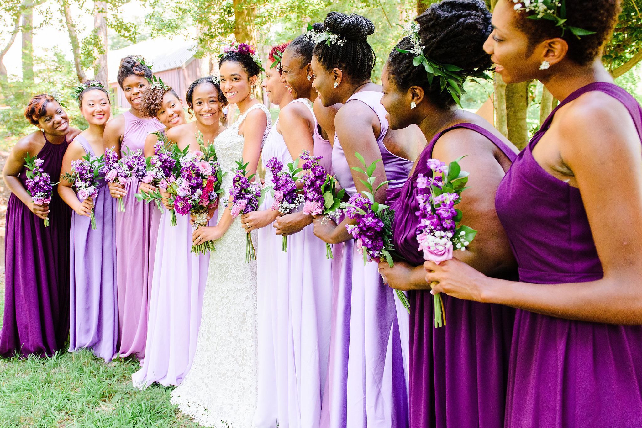 Purple, bridal party, wedding, bridesmaids, ombre, dresses, mix and match