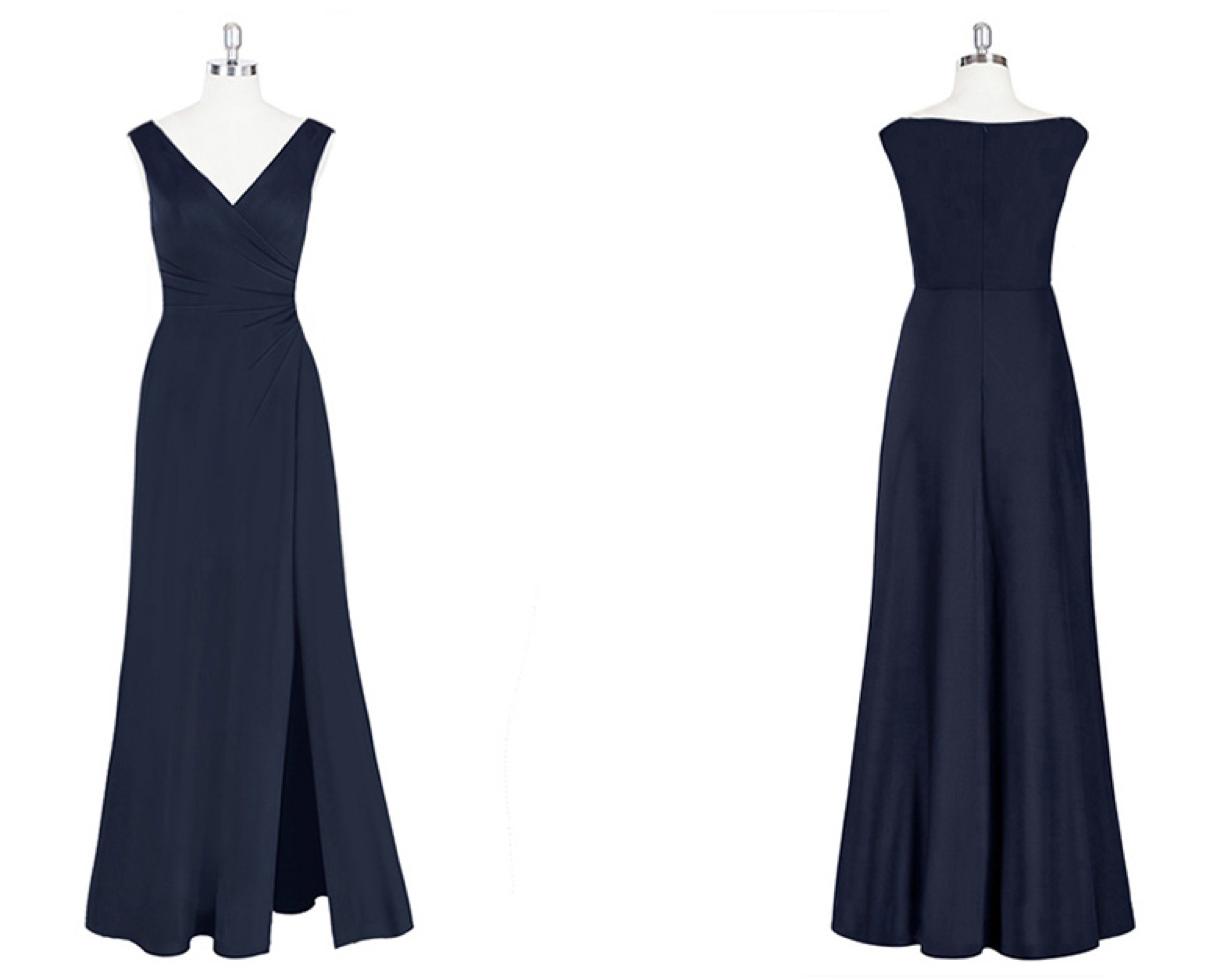 v neck, sleeveless, long dress, slit, evening, gown, bridesmaids, dresses, wedding
