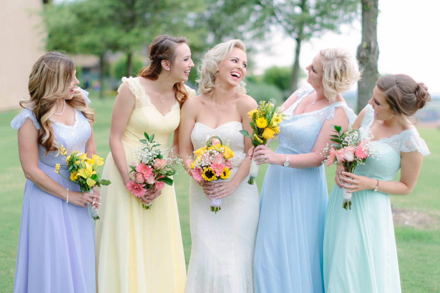 bridesmaids, wedding, mix and match, bridal party, pastel
