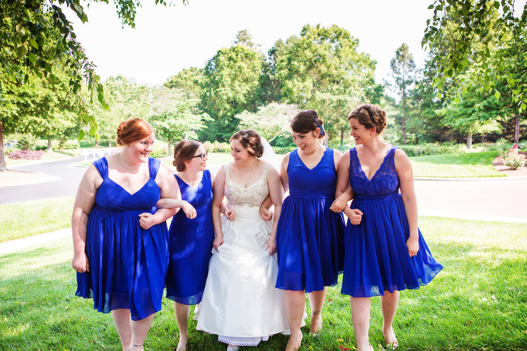 wedding, bridal party, bridesmaids, blue, mix and match