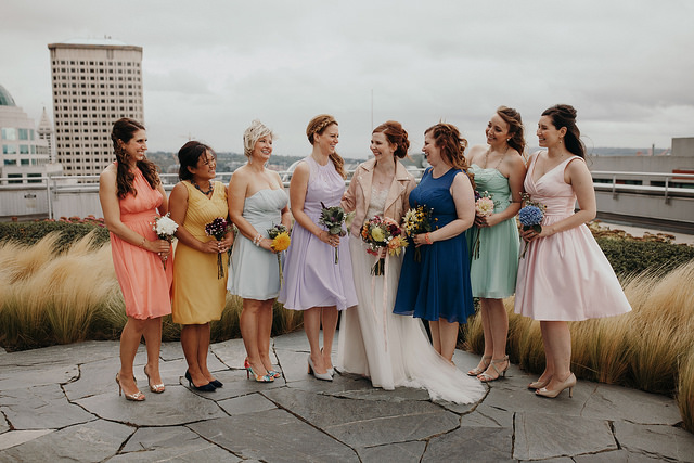 bridesmaids, dresses, colorful, wedding, outdoors, inspiration, real