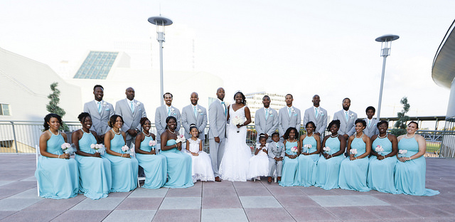 real, wedding, turquoise, blue, bridesmaids, dresses, grey, suits, bridal, party, inspo