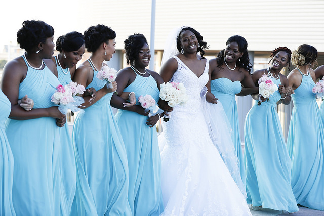 real, wedding, blue, turquoise, bridesmaids, bridal, party, inspo