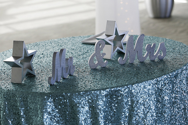 table, decor, glitter, shiny, silver, blue, inspo