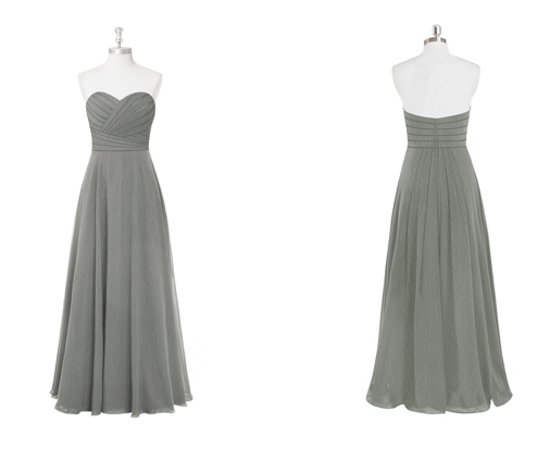 strapless, pleated, chiffon, long, dress, bridesmaid