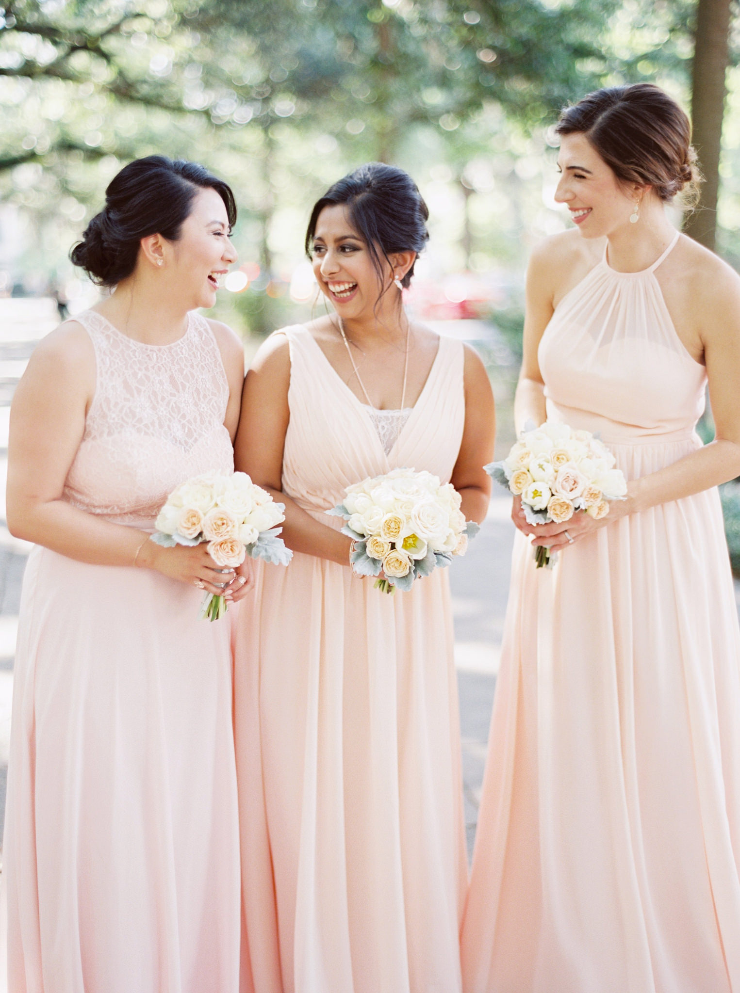 bridesmaids, wedding, pink, long, dresses, affordable