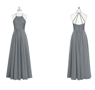 strappy, bridesmaid, dress, long, pleated, halter