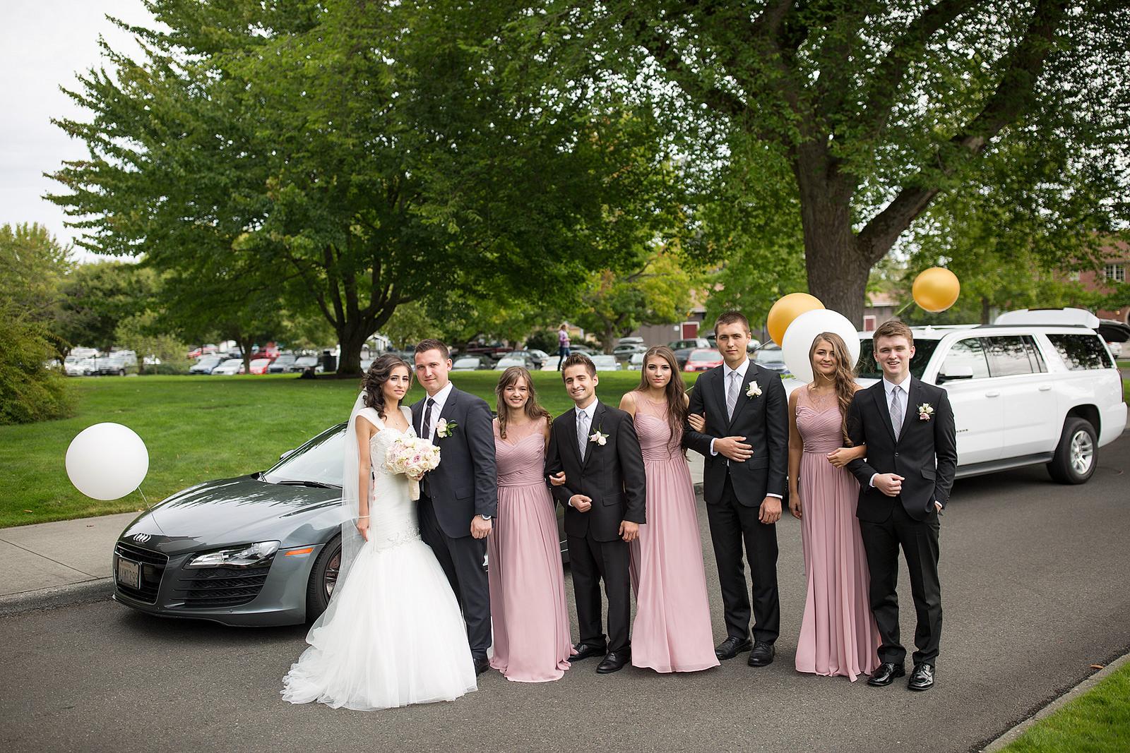 real, wedding, bride, bridal, fashion, style, bridesmaids, groomsmen, pink, long, dress, affordable