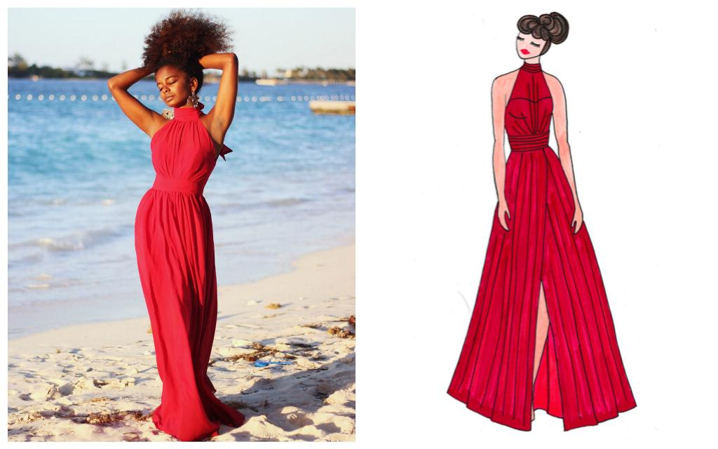 iman, red, long, gown, affordable, illusion, halter, slit, bridesmaid, dress