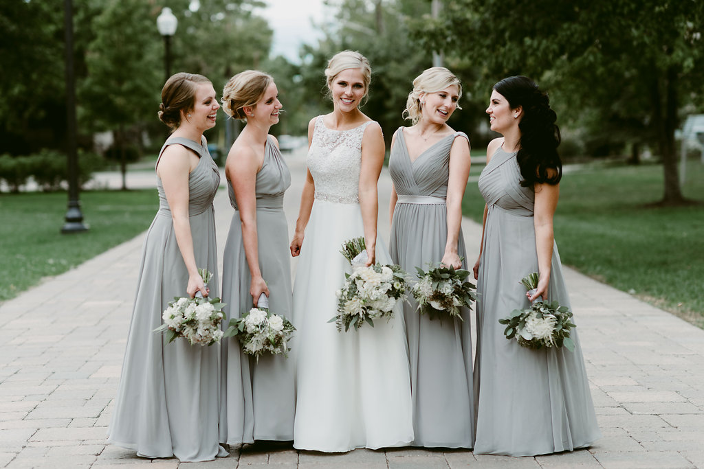 real wedding, bride, bridesmaids, dresses, long, silver, elegant, gowns, affordable