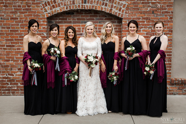 bridesmaid, dresses, black, wedding, inspiration, bridal, party