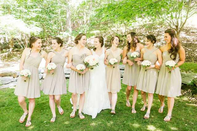 real, wedding, taupe, bridal, bridesmaids, dresses, affordable