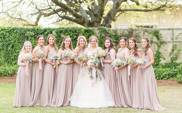real, wedding, bridal, bridesmaids, dresses, neutral, taupe