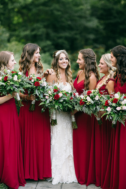 burgundy, red, fall, wedding, bridesmaid, dresses, planning