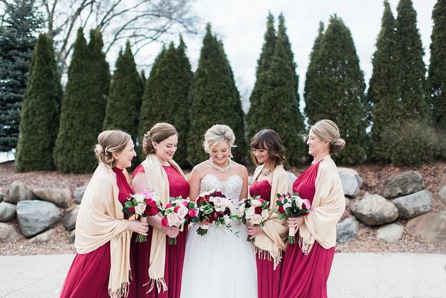 wedding, burgundy, red, outdoor, winter, bridesmaids