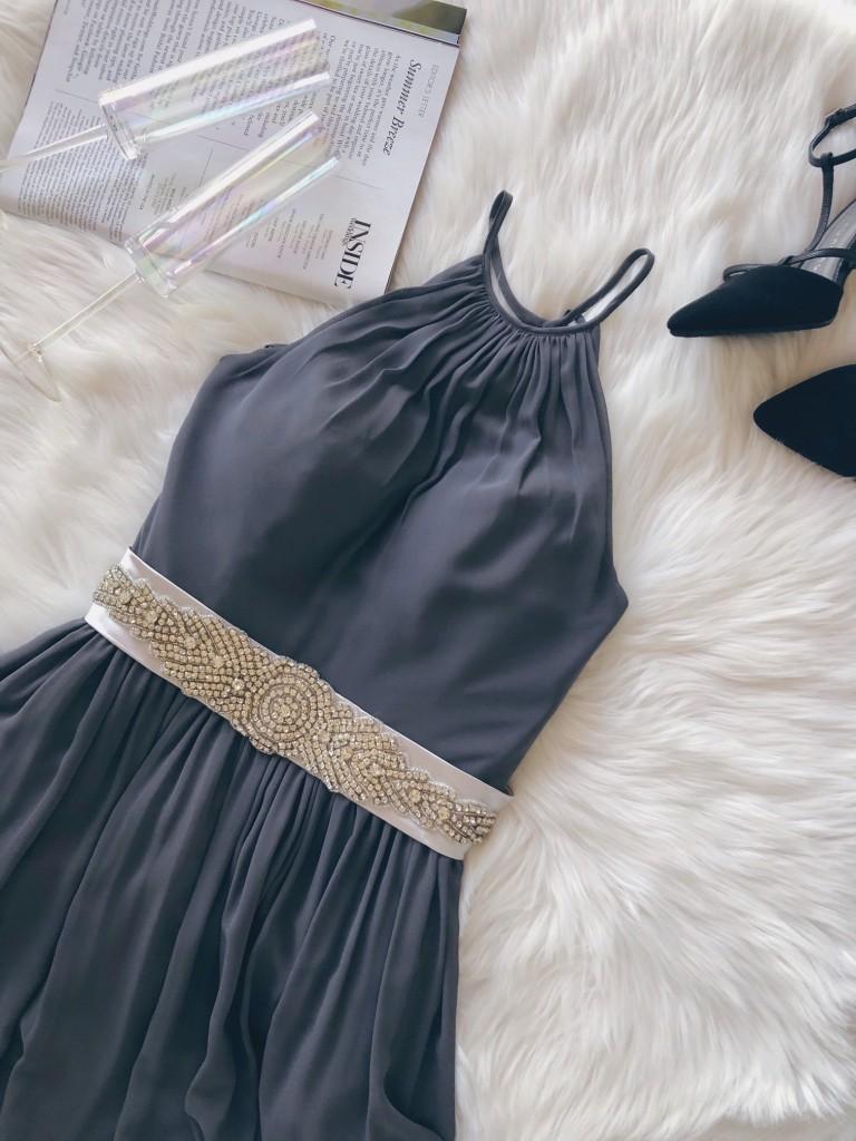 Azazie Hazel bridesmaid dress in steel gray with sequin sash