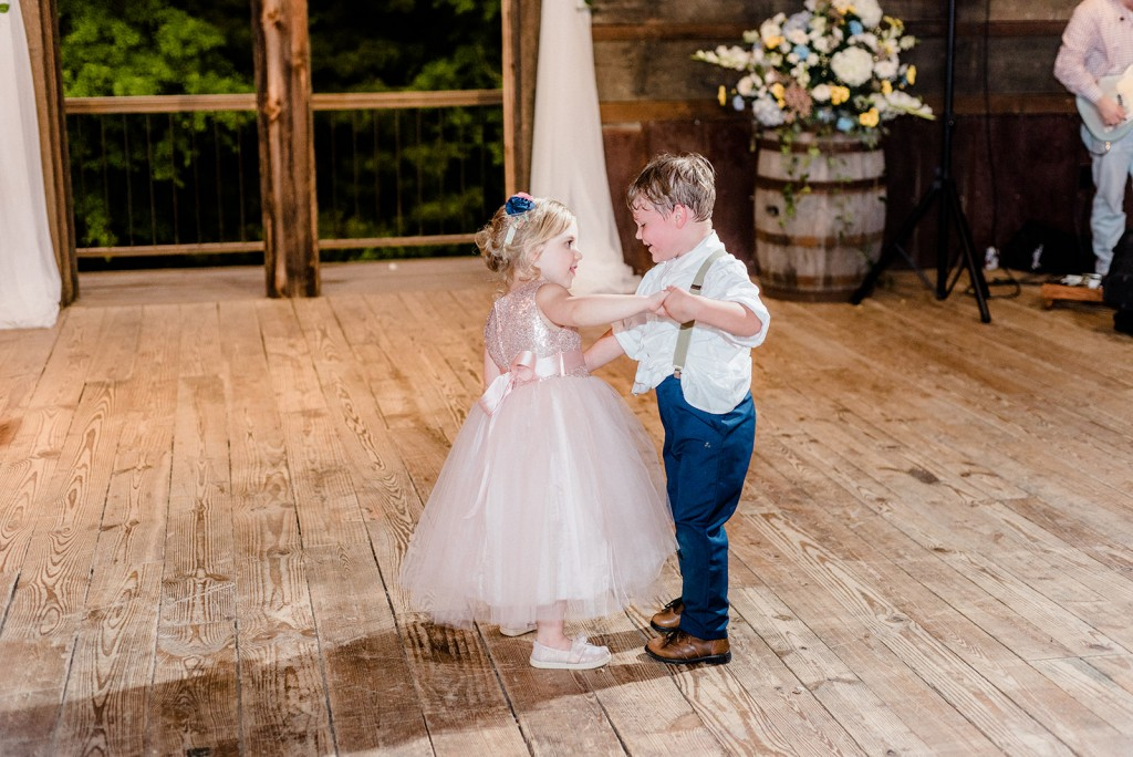 Katy & Mark | The Barn at Bennett Flats, wedding, bride and groom, real bride, real Azazie Wedding, wedding dress, Azazie, real wedding story, bridesmaid dresses, bridal party, wedding party, dancing, children, wedding guests