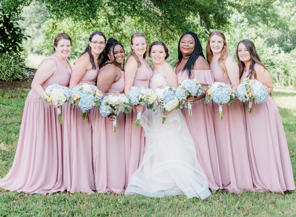 Katy & Mark | The Barn at Bennett Flats, wedding, bride and groom, real bride, real Azazie Wedding, wedding dress, Azazie, real wedding story, bridesmaid dresses, dusty rose, bridal party, bridesmaids, pink bridesmaid dresses, cheap bridesmaid dresses, affordable bridesmaid dresses
