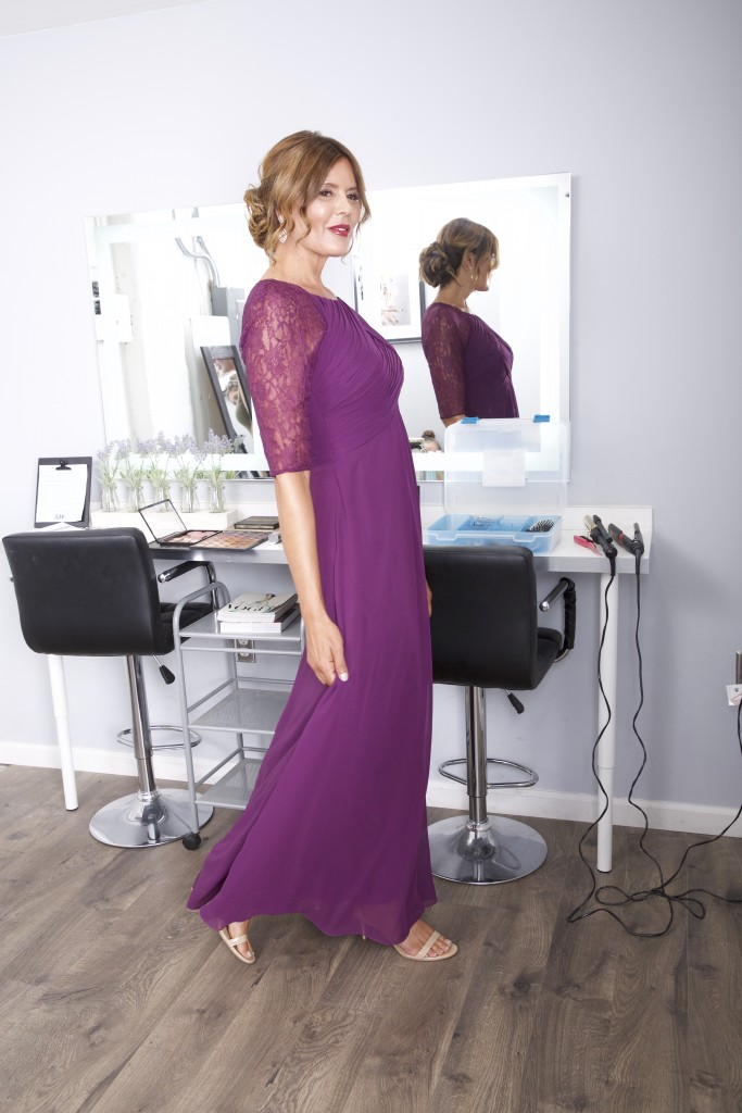 Azazie Barrymore, Mother of the Bride, Grape, Azazie Hadid, Mother of the Bride Burgundy, fall fashion, dress for mom, updo, hair bun, curly hair, hair salon