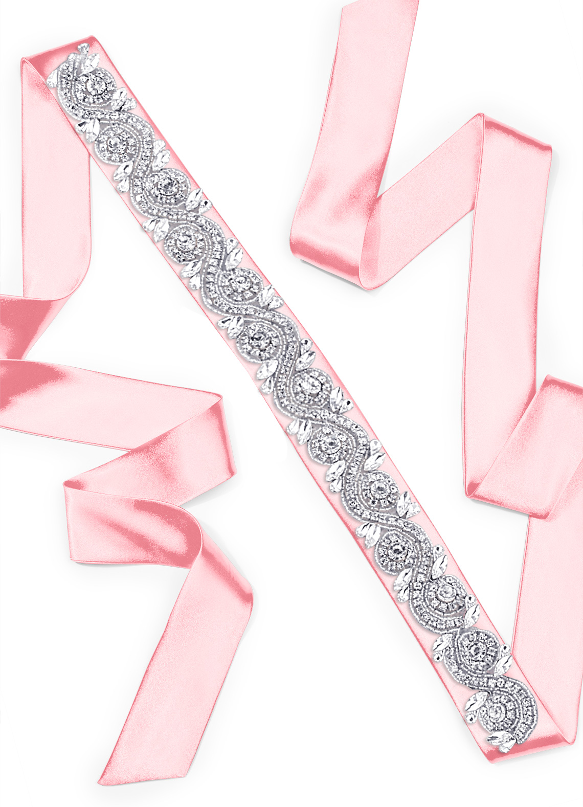 Charmeuse Sash with Swirl Beading_104762_Candy Pink
