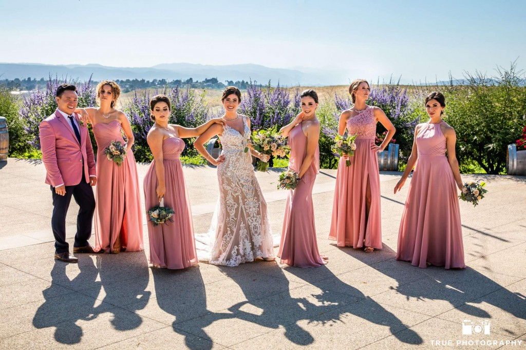 Real #Azazie Wedding, bride, groom, wedding, wedding dress, winery, romance, bridesmaids dresses, dusty rose dresses, wedding color palette, bridal party, wine country wedding, vineyard