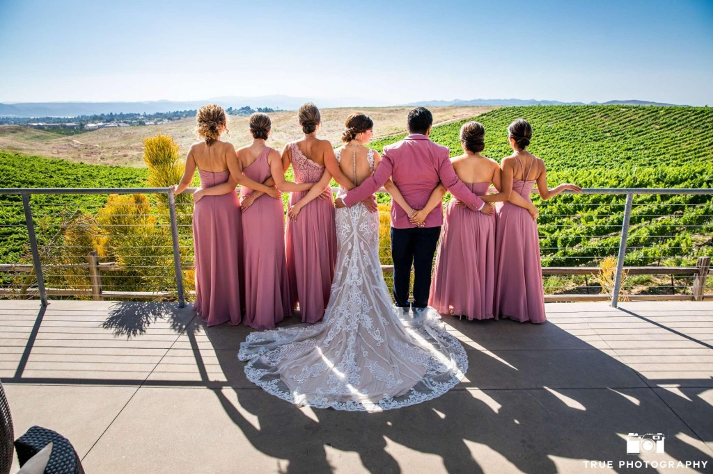 Real #Azazie Wedding, bride, groom, wedding, wedding dress, bridal gown, winery, romance, bridesmaids dresses, dusty rose dresses, wedding color palette