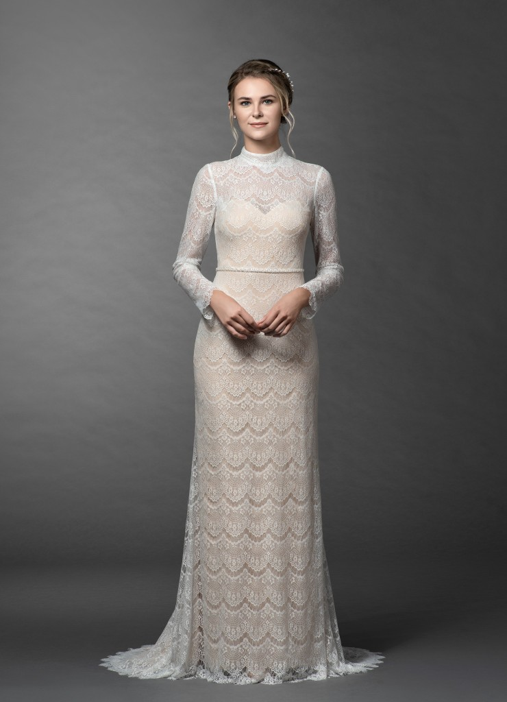 Azazie Ozette Bridal Gown Vintage Diamond White&Champagne, vintage style wedding dresses, vintage bridal gowns, early 20th century styles, 1900s wedding fashion, old-fashioned wedding dress, traditional bridal gown, off-white wedding dress, long-sleeve wedding dresses, affordable wedding dresses