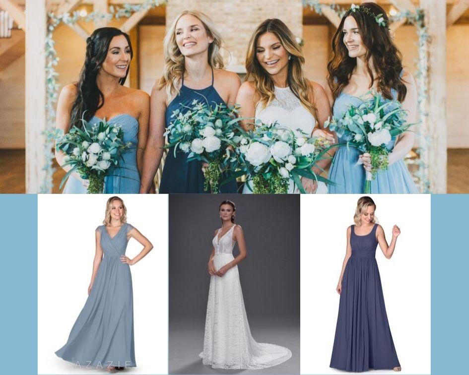 Azazie Veda, Azazie Farah, Dusty Blue, Stormy, Azazie Thalia, Azazie Gwendolyn, bridesmaid dress, blue dresses, wedding, bridal party, wedding style