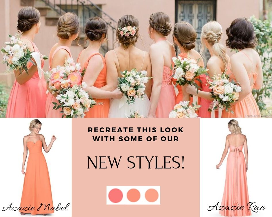 Azazie Mabel, Azazie Rae, Papaya, Sunset, Watermelon, Coral, bridal party, bridesmaid dresses, azazie bridesmaid dresses, summer wedding, wedding