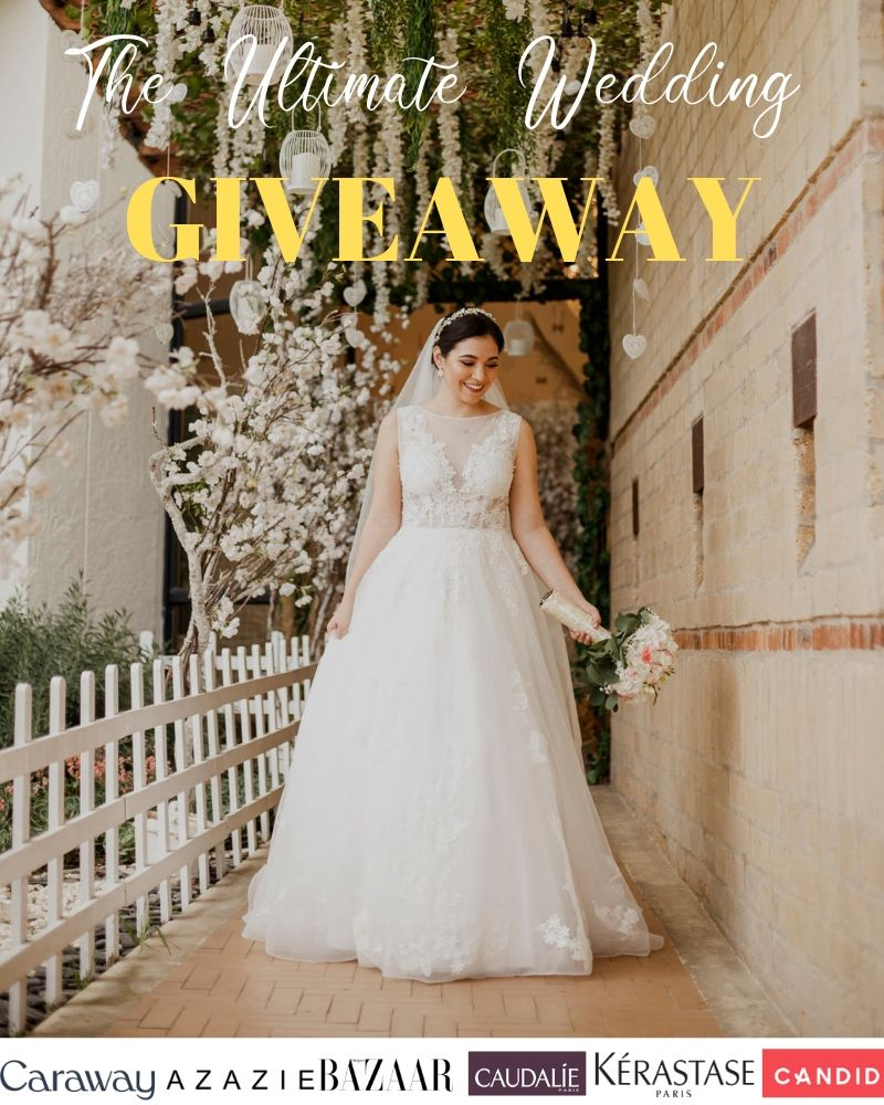 bridal gown, wedding dress, wedding style, modern bride, white flowers, white veil, wedding veil, giveaway, free gift, wedding giveaway, Caraway, Harper's Bazaar, Caudalie, Kerastase, Candid, beauty giveaway