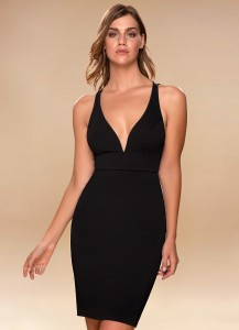 black dress, Azazie, tight fitted dress, sexy dress, sleeveless dress, bodycon dress, midi dress, party dress, bachelorette party dress, special occasion dress
