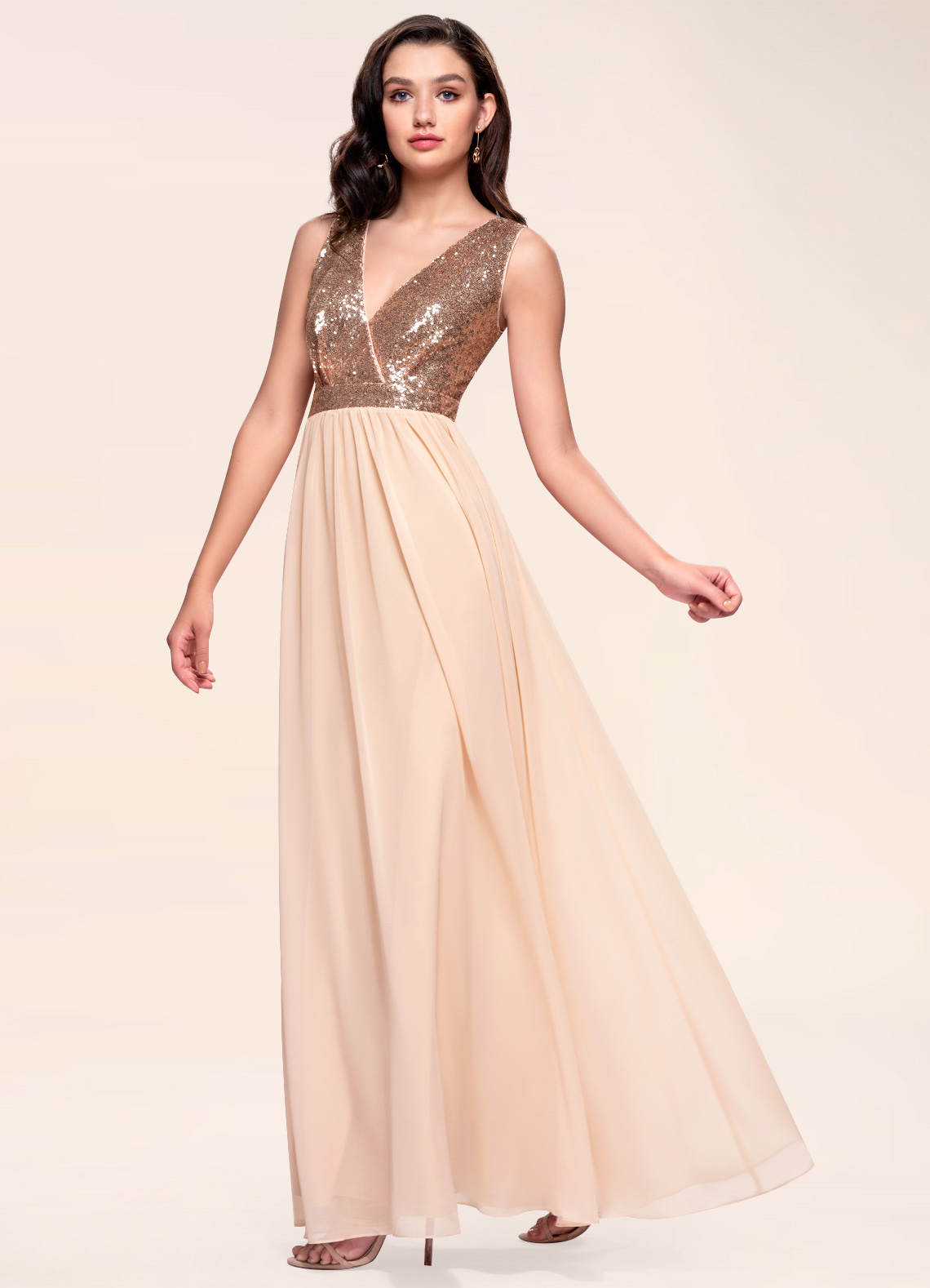 Starlet Rose Gold Sequin Maxi Dress