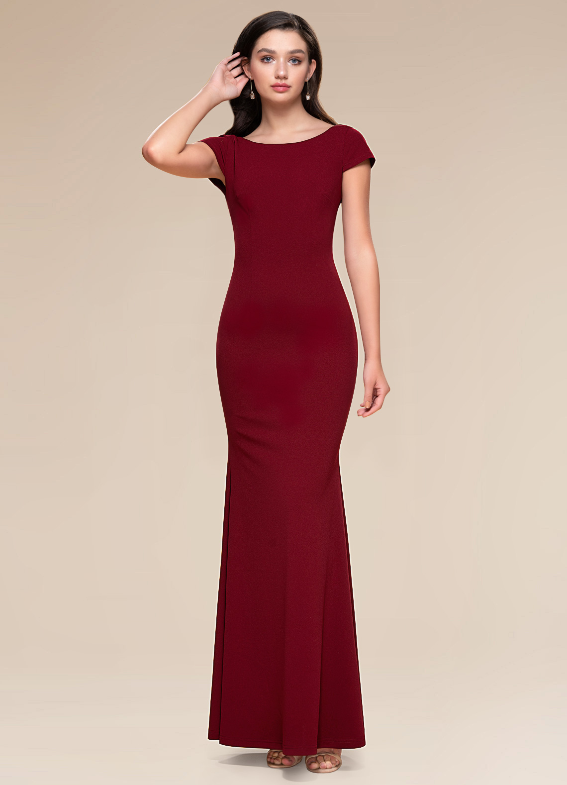 Pure Beauty Burgundy Stretch Crepe Maxi Dress