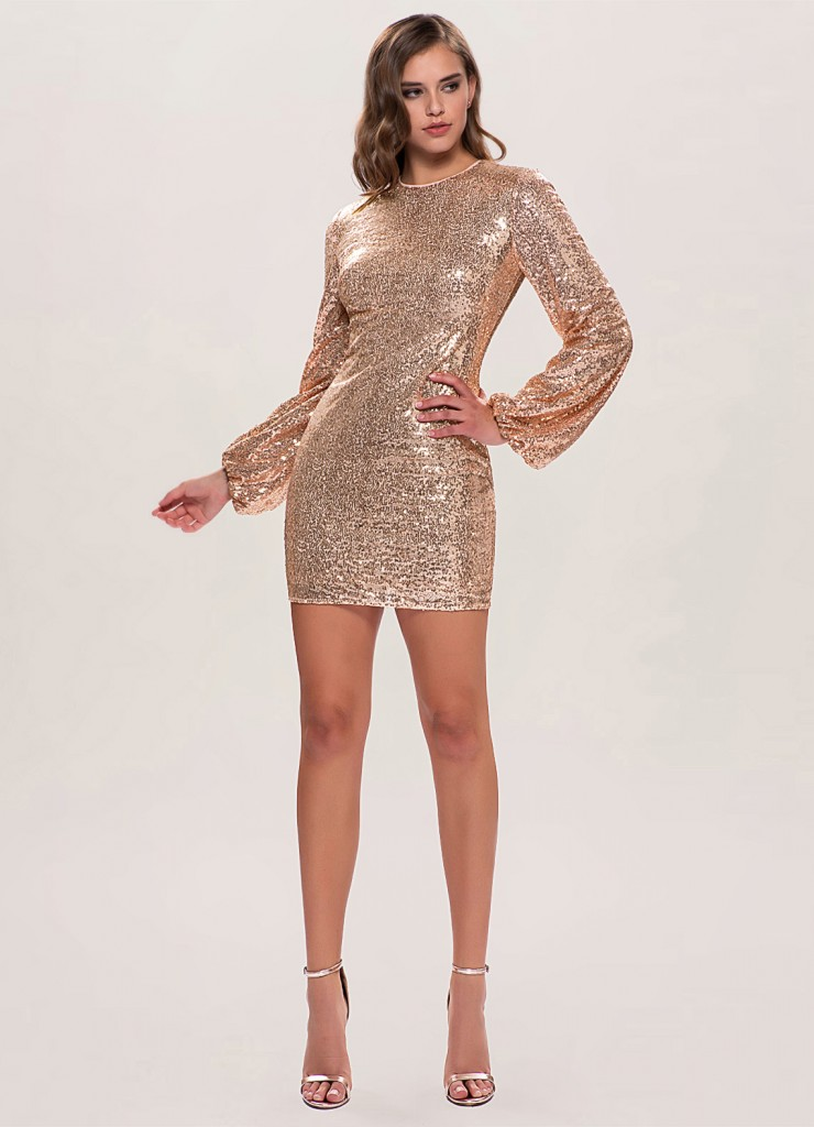 Perfect Glam Rose Gold Sequin Mini Dress