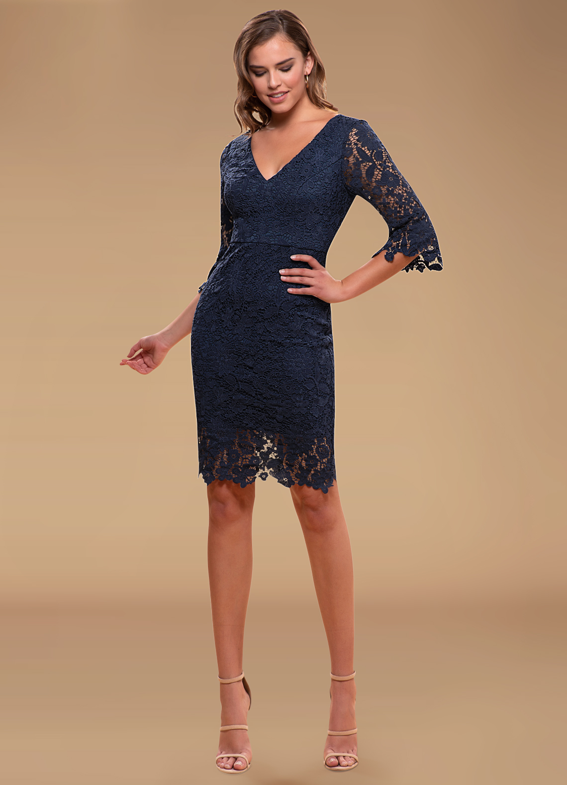Own The Night Navy Blue Lace Midi Dress