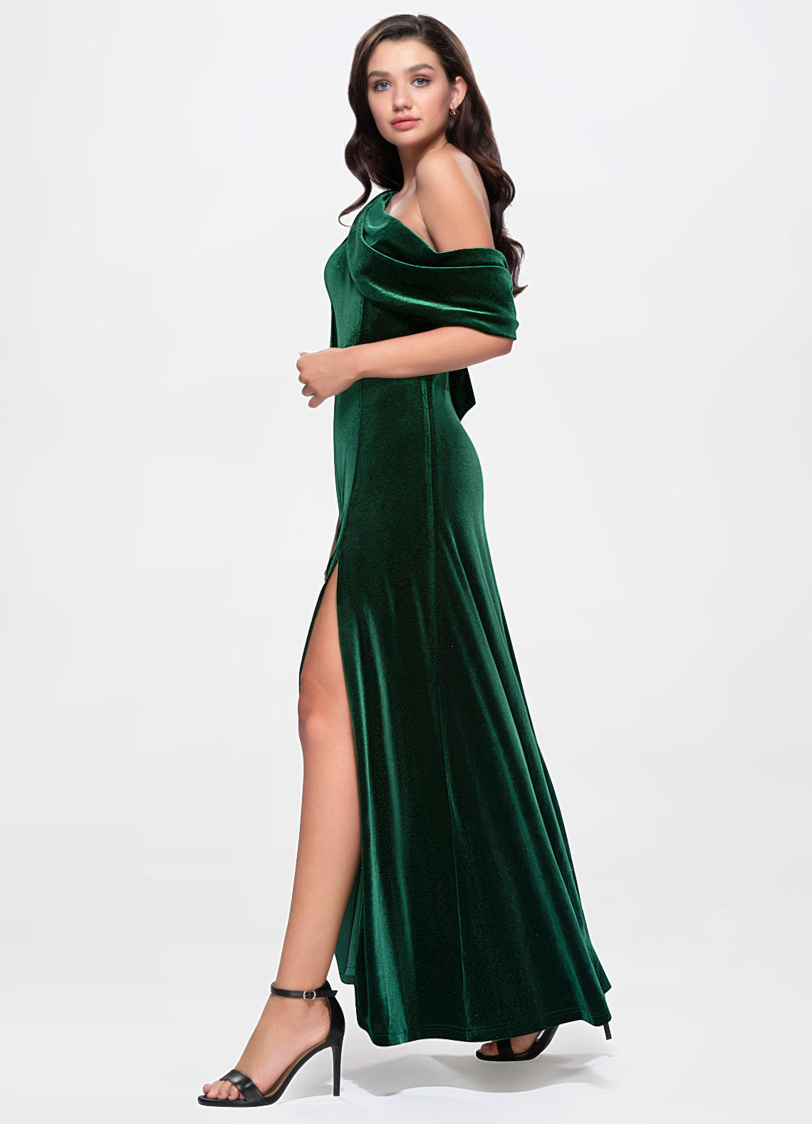 La Belle Dark Green Velvet Maxi Dress